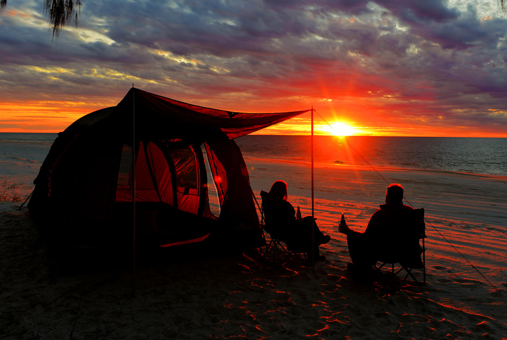 camping and sunset on the westcoast