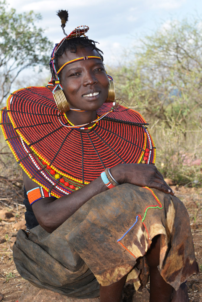Pokot lady in traditional tribal dress