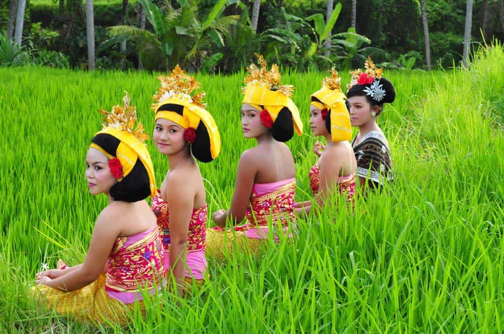 Bali celebration in the rice terraces