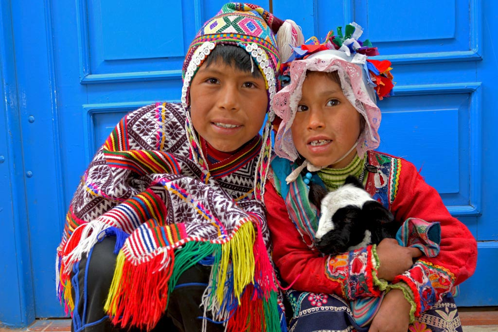 Local children at sacred valley markets