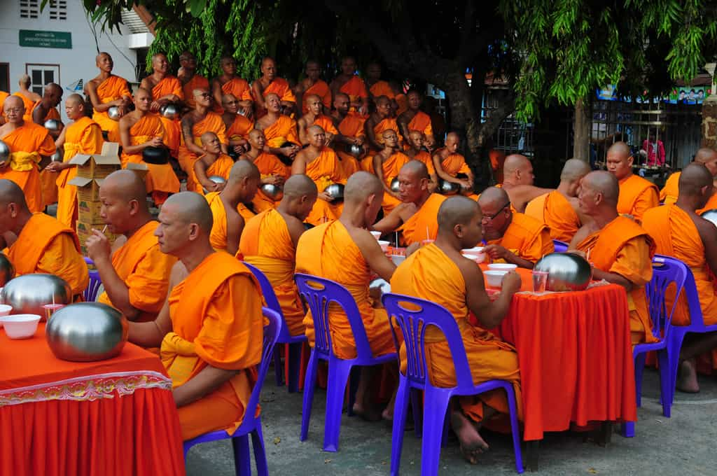 Monks dine at Visaka Bucha Buddha Festival Lopburi