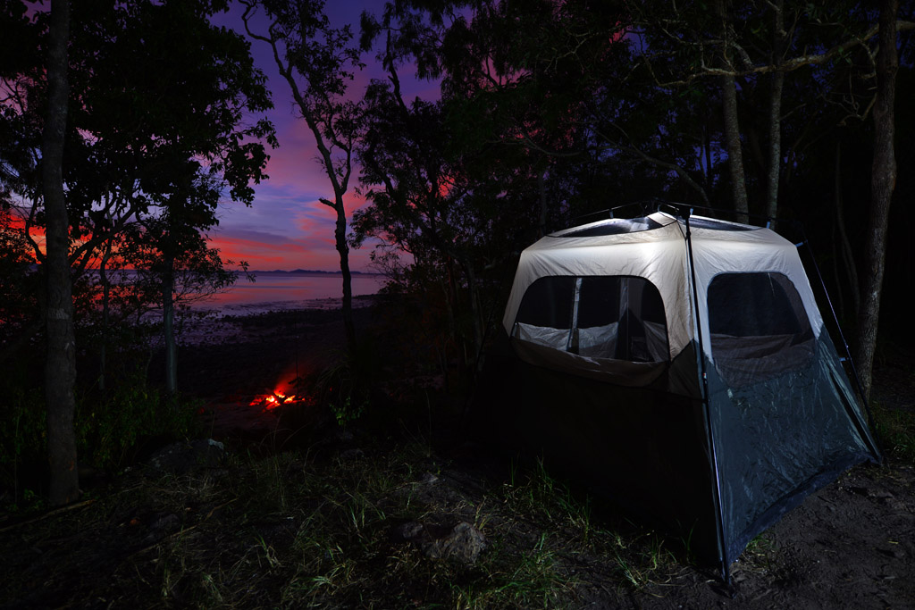 Our tent at Smalleys Beach at Cape Hillsborough National Park