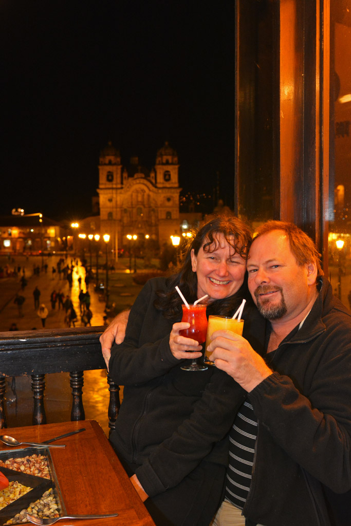 Drinks at one of the many balcony restaurants that overlook the square