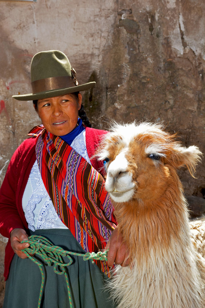 Local lady in Cusco with her llama