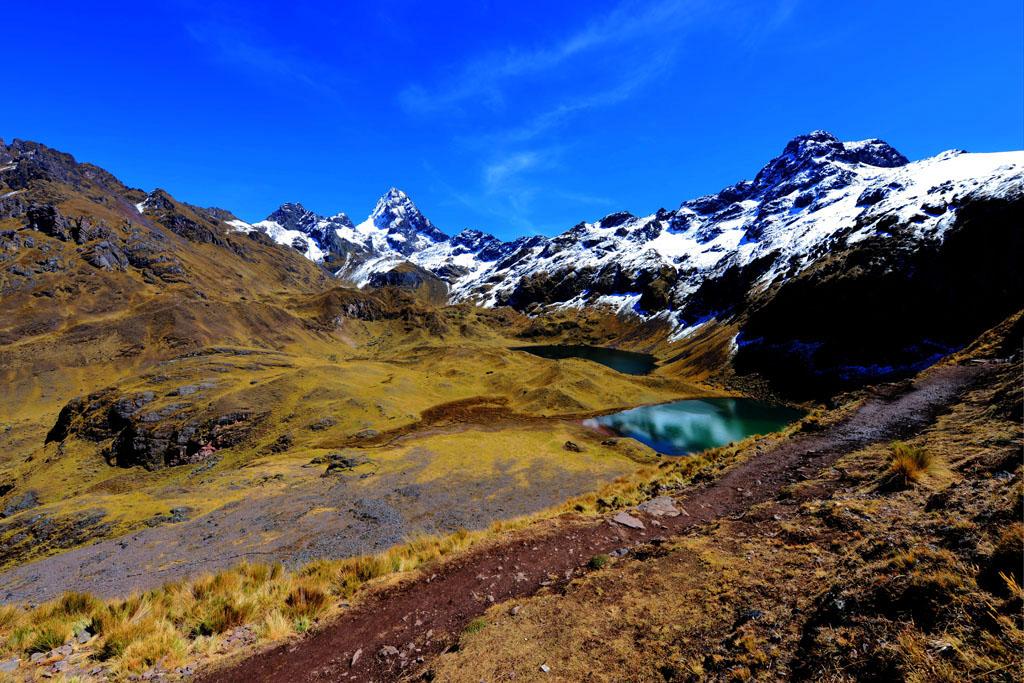 Snowy peaks and turquoise lakes on Lares trek