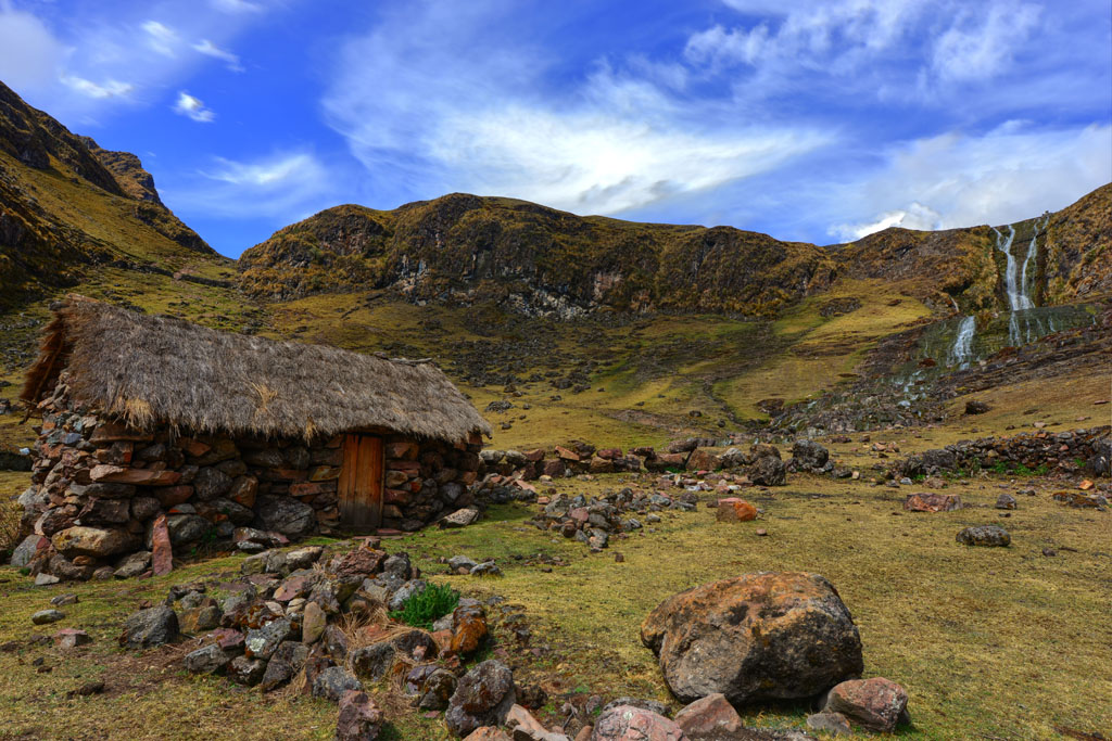 Thatched stone houses in the villages on lares trek