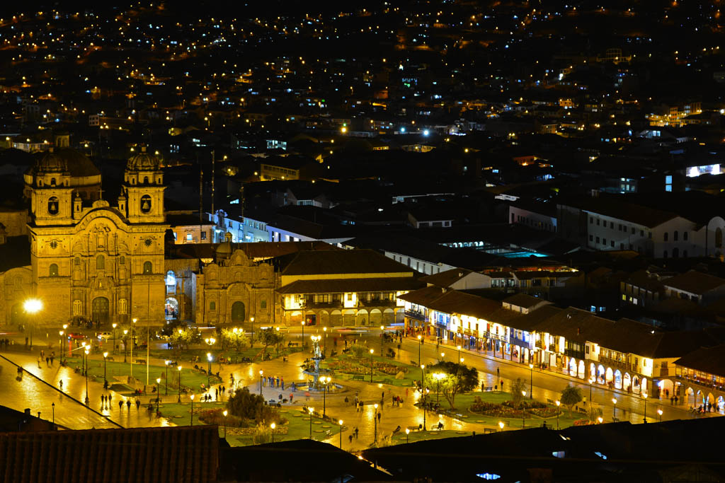 The view of the main square from San Cristobal Church at night