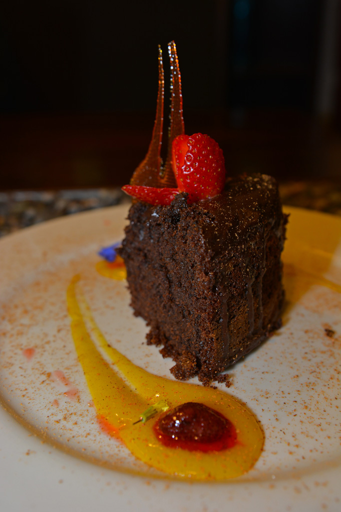 Vegan chocolate cake at Green Point My Vegan Restaurant