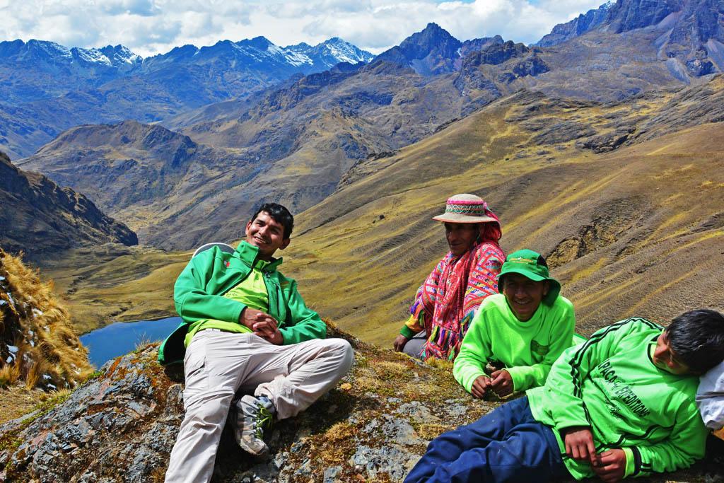 trekking team having a rest on lares trek