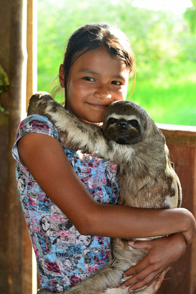 village girl and sloth