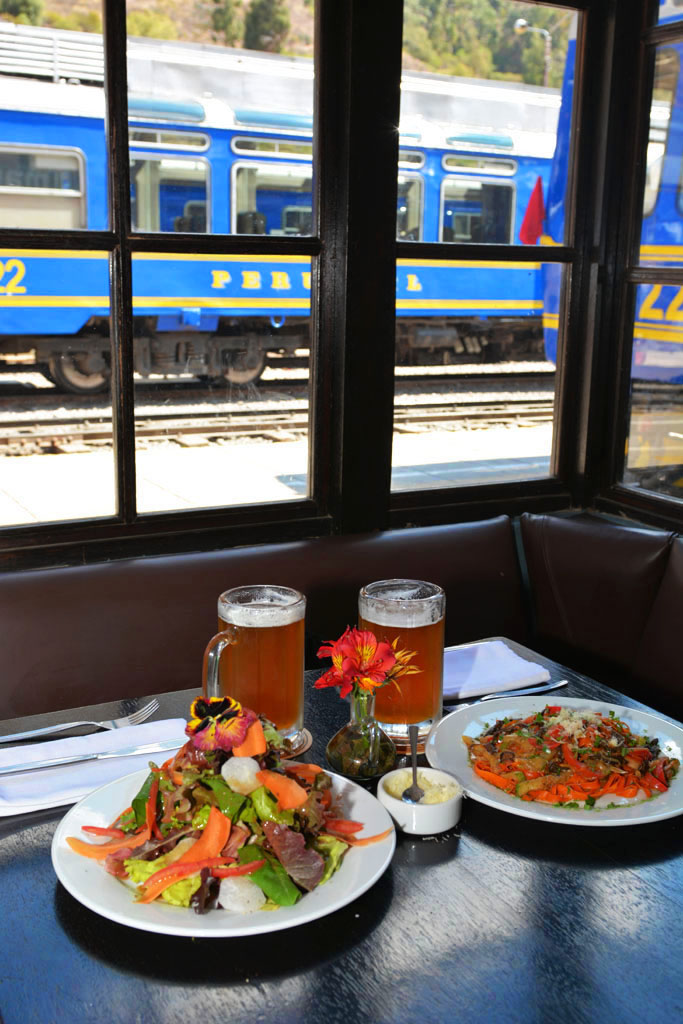 lunch while waiting for the train ollantaytambo to machu picchu