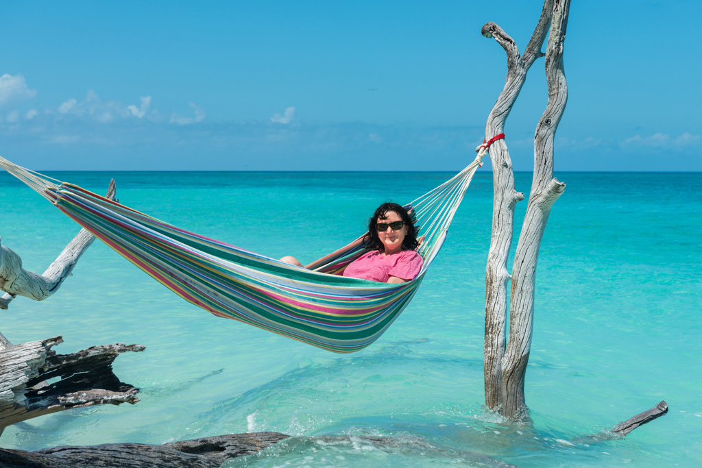relaxing at lady musgrave in a hammock